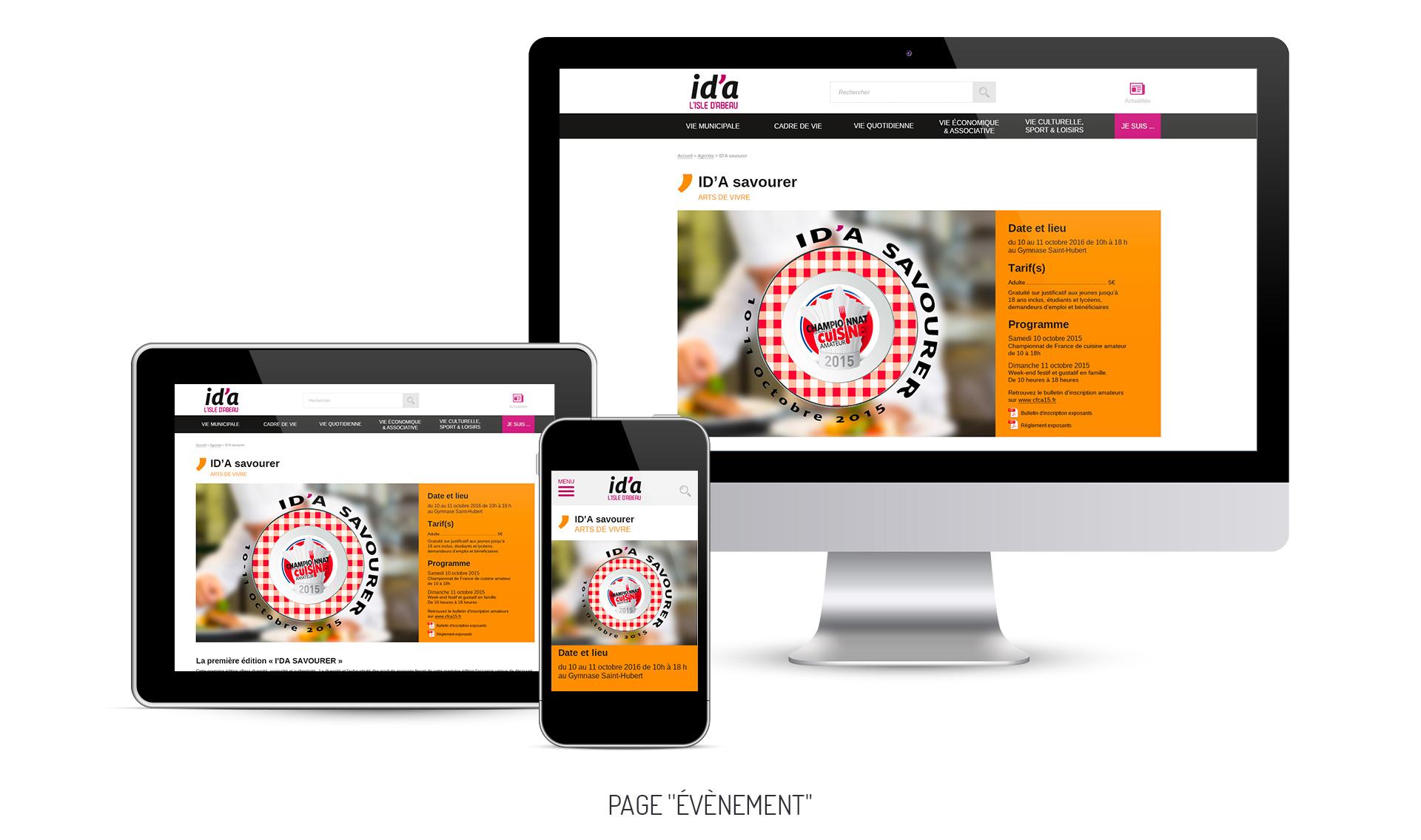 Comportement de la page Événement, rubrique Agenda, sur desktop, tablette et mobile