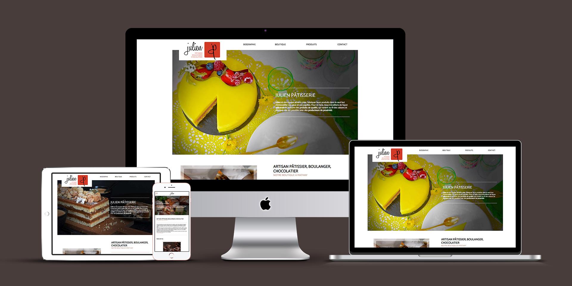 Mise en situation du site internet de Julien pâtisserie sur ordinateur, tablette et téléphone portable