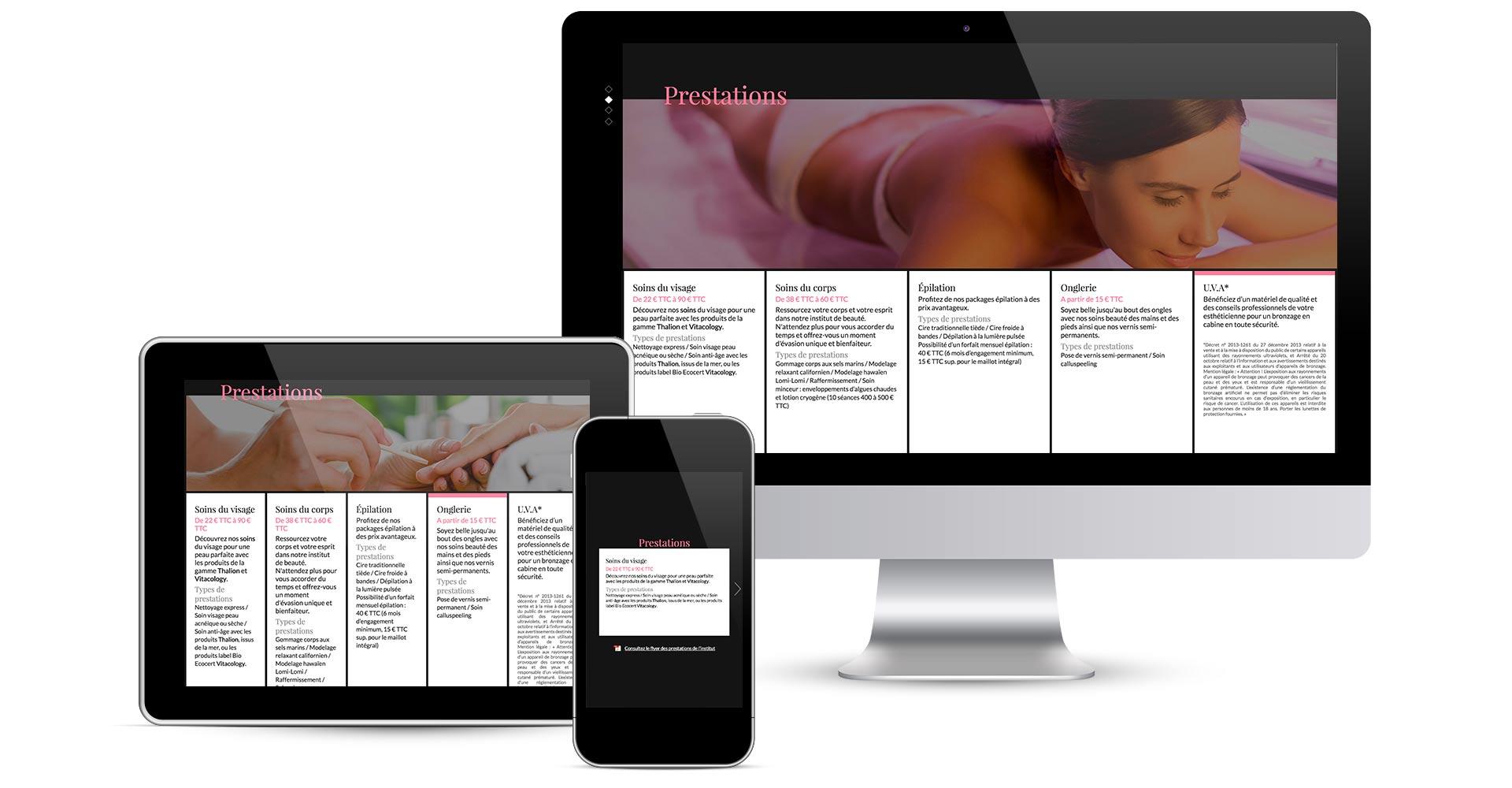 présentation des écrans en responsive design du site internet espace beauté rubrique prestation