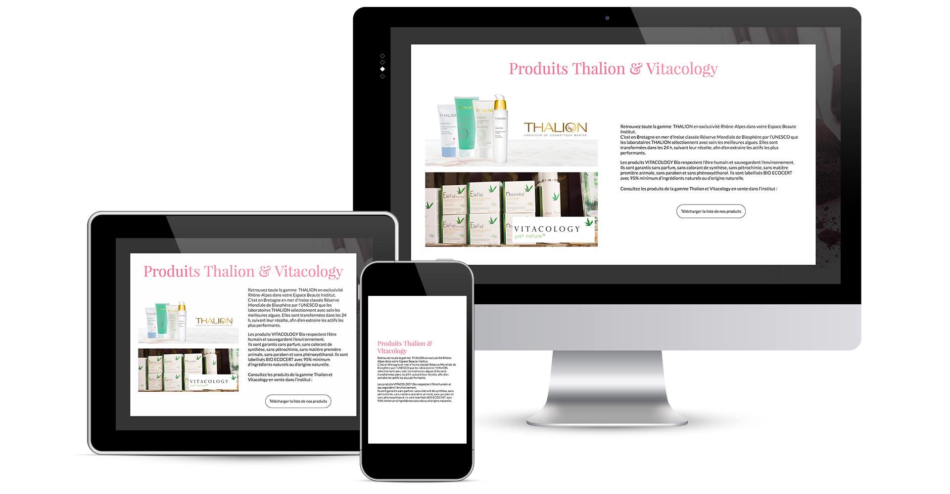 présentation des écrans en responsive design du site internet espace beauté rubrique produit