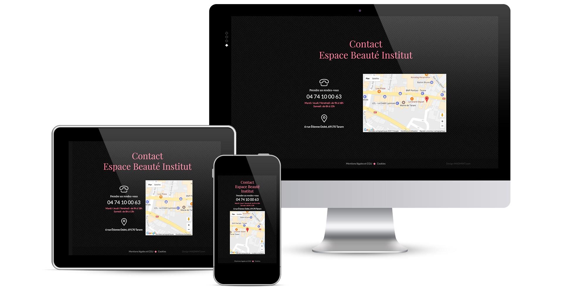 présentation des écrans en responsive design du site internet espace beauté rubrique contact