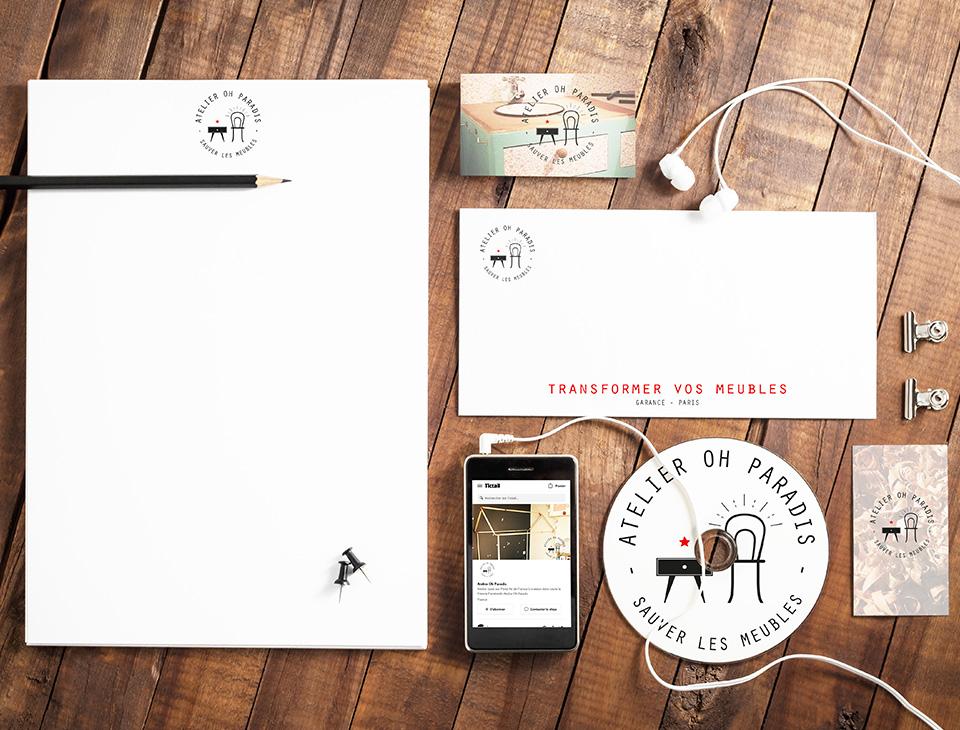 Supports de communication pour l'Atelier Oh Paradis designés par MADMINT : papier à entête, carton de correspondance, carte de visite...