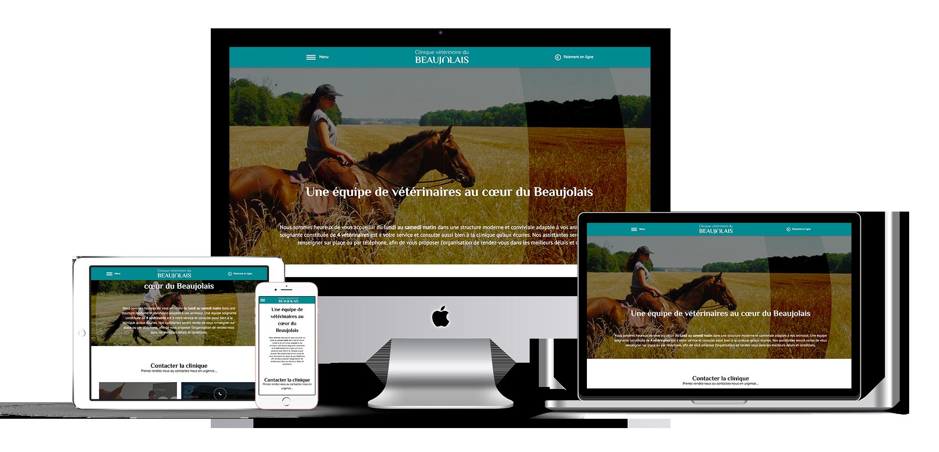 Site Internet de la Clinique Vétérinaire du Beaujolais présenté sur différents supports digitals