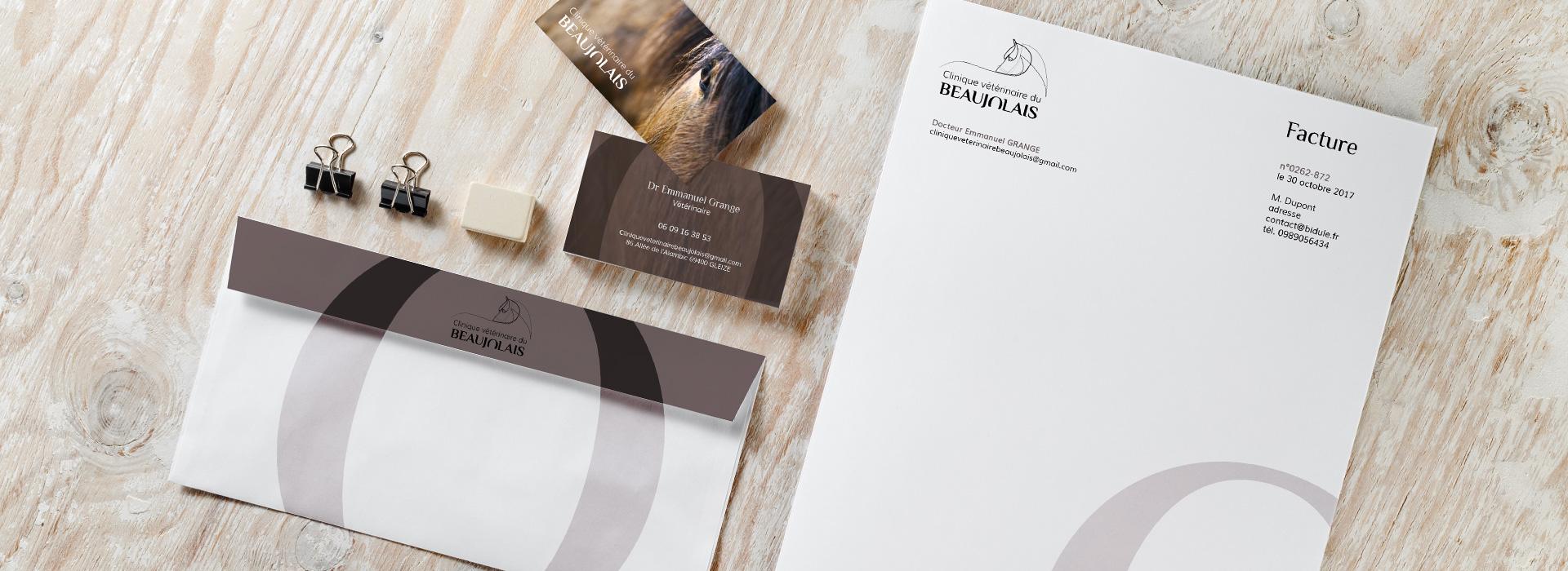 Déclinaison de la charte graphique de la Clinique Vétérinaire du Beaujolais sur différents supports de communication : carte de visite, enveloppe, papier à entête...