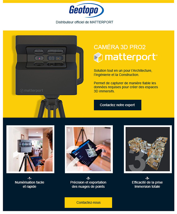 Geotopo emailing sur la camera Matterport