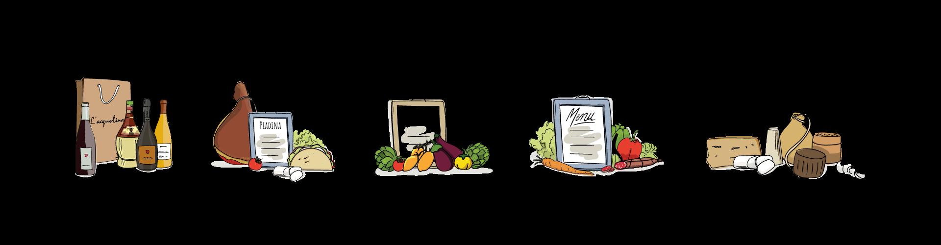 Illustration pour le restaurant l'Acquolina réalisées par MADMINT