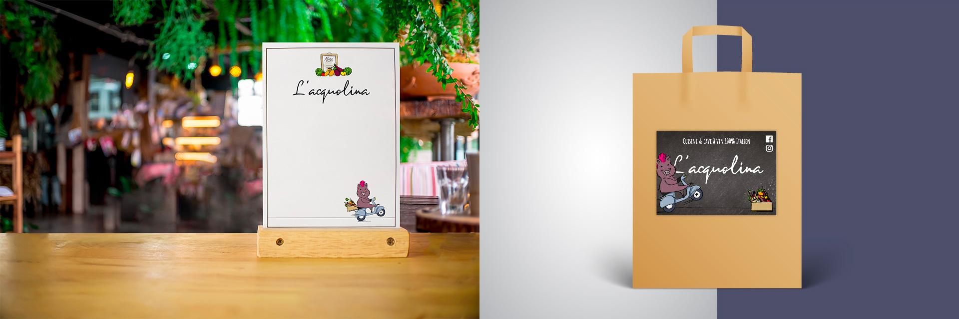 Menu et sticker du restaurant l'Acquolina designé par MADMINT