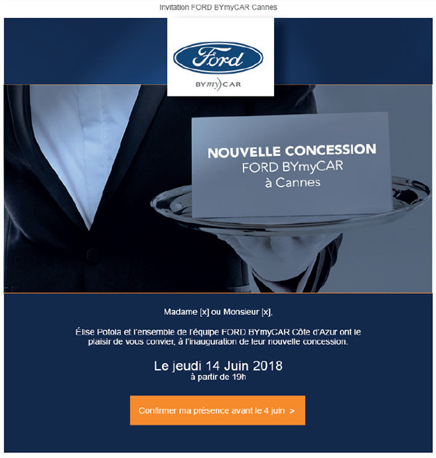 Campagne publicitaire FORD BYmyCAR emailing