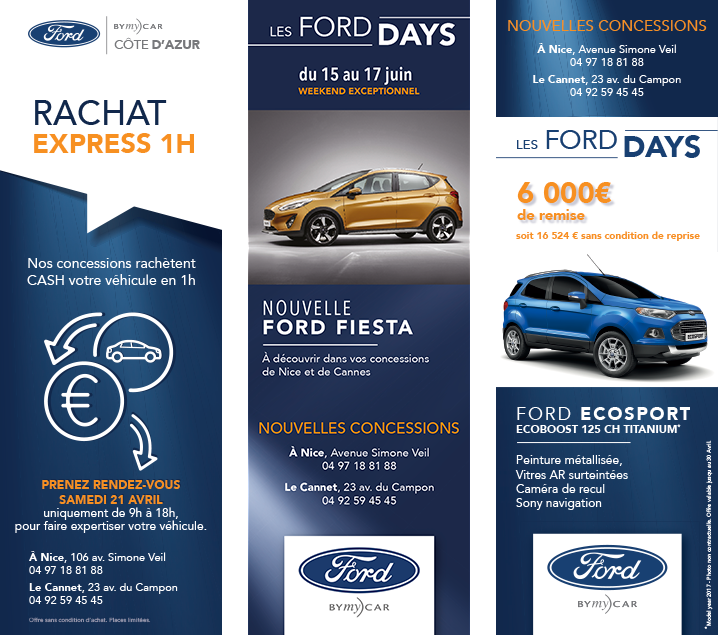 Campagne publicitaire FORD BYmyCAR manchettes journaux