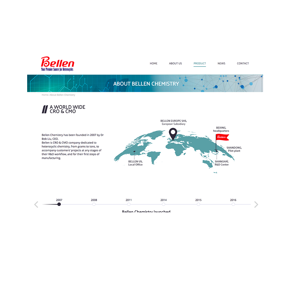 About us page of Bellenchem Europe website