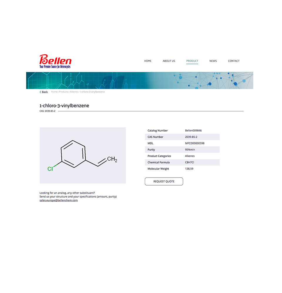 Product page of Bellenchem Europe website