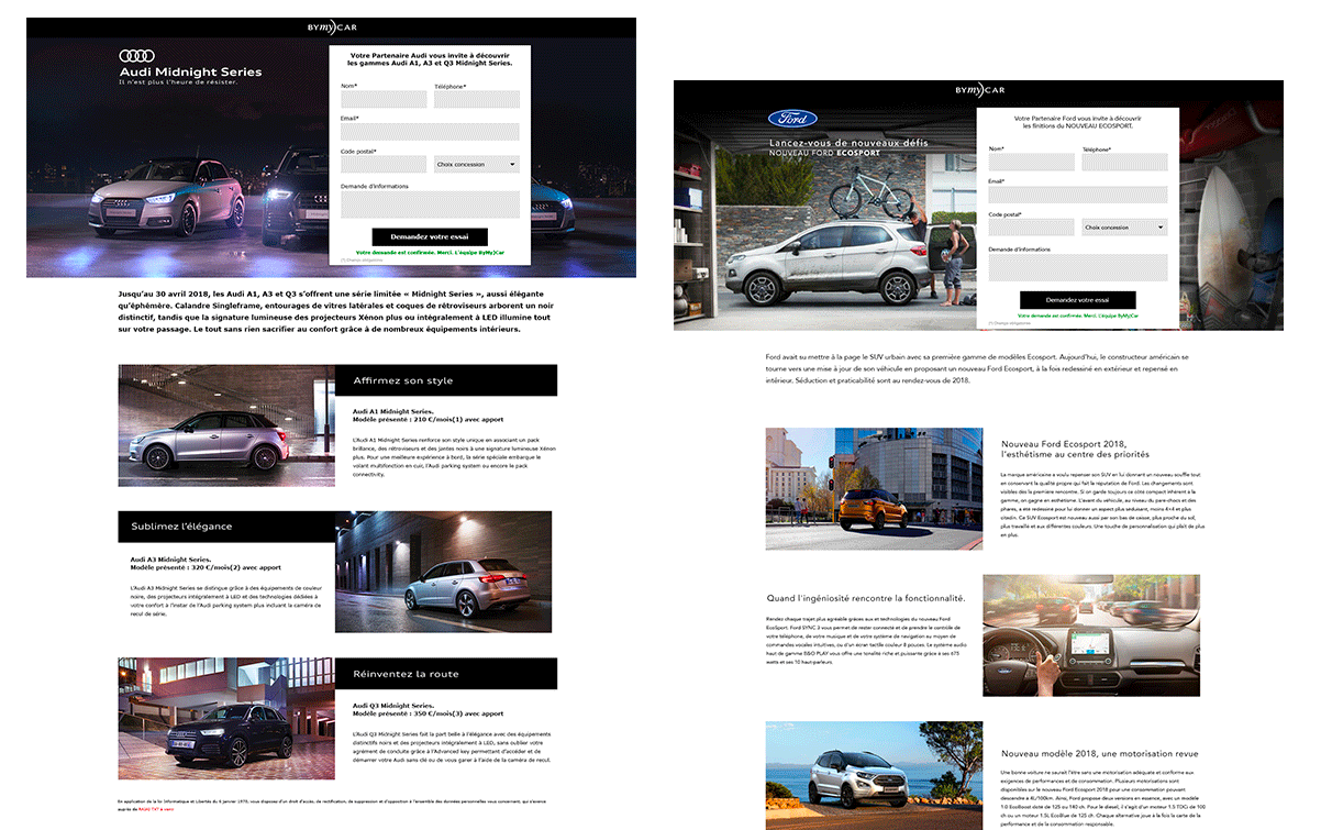 MADMINT designed landing pages for BYmyCAR