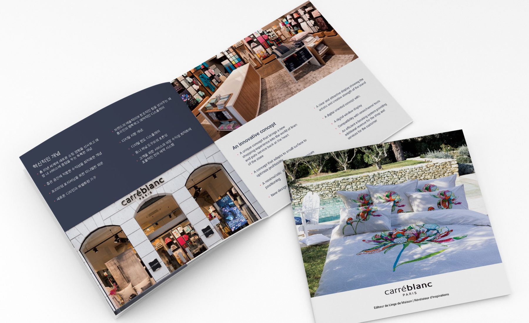 Carré blanc's brochure designed by MADMINT