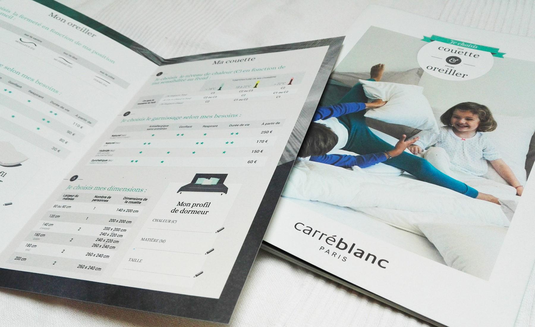 Carré blanc's flyer designed by MADMINT