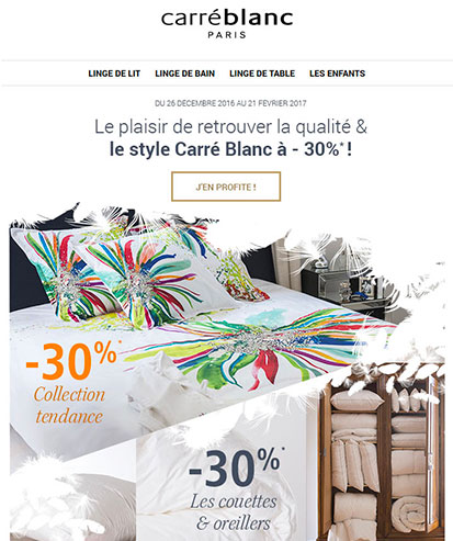 Carré blanc's emailing designed by MADMINT
