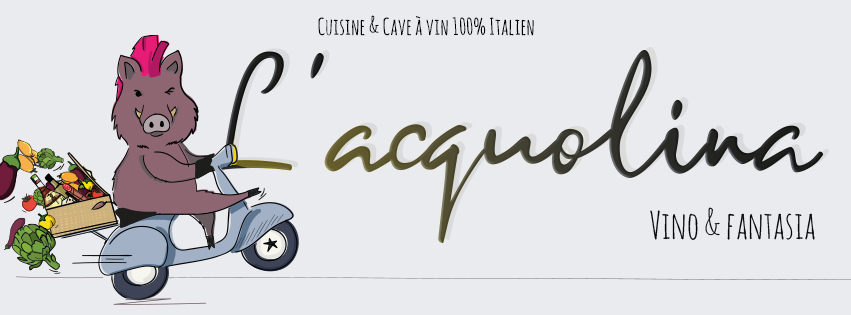 L'Acquolina's menu and sticker designed by MADMINT