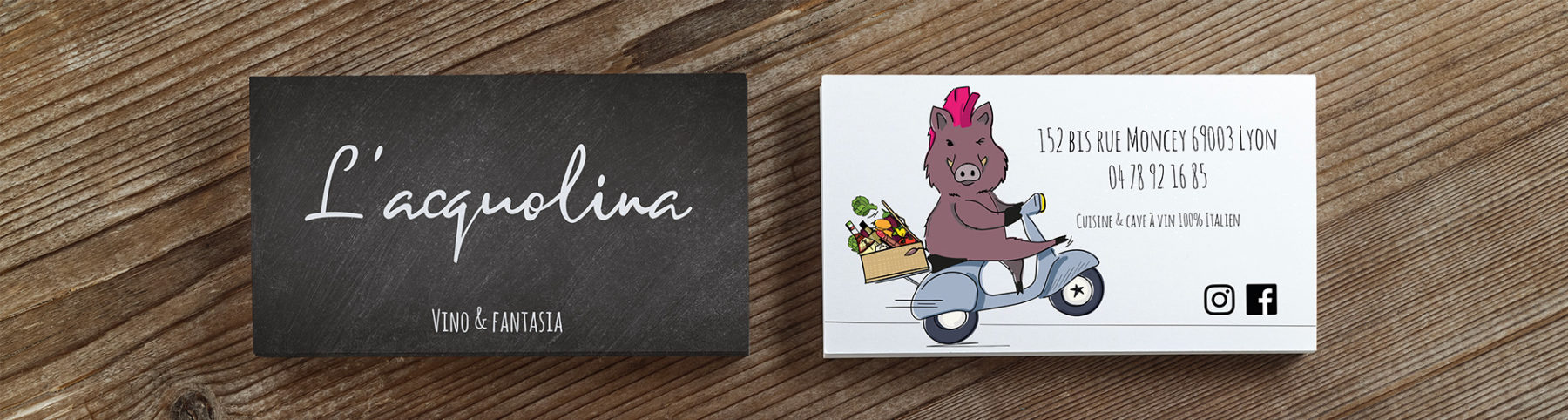 L'Acquolina's business card designed by MADMINT