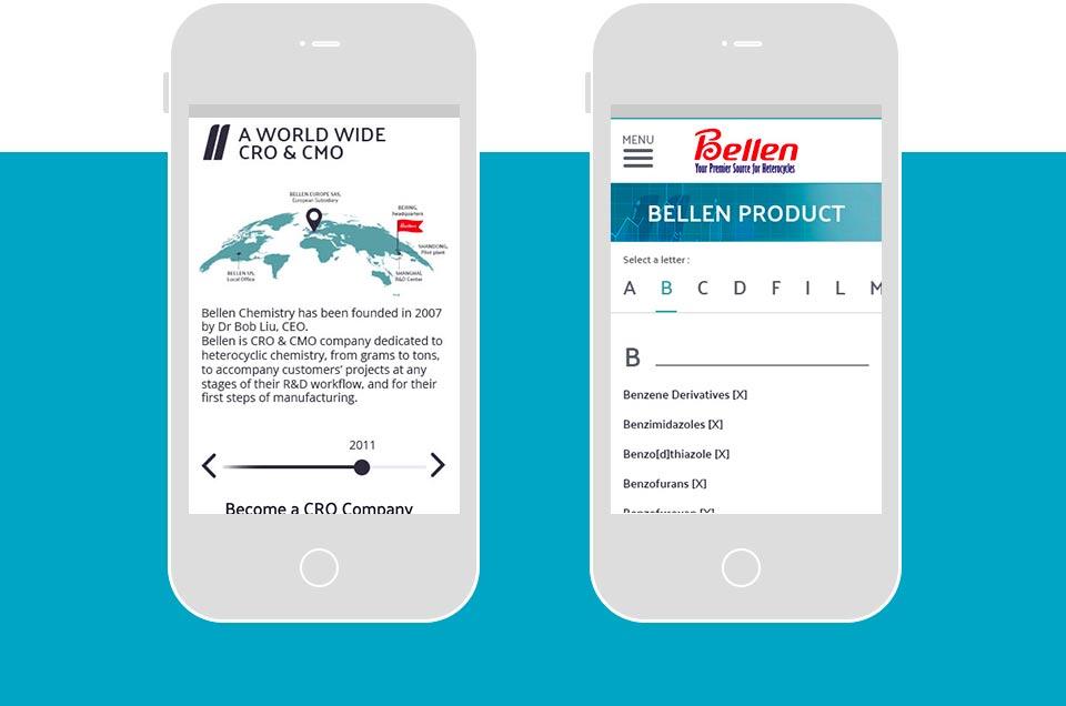 Illustration of Bellenchem Europe website on mobile
