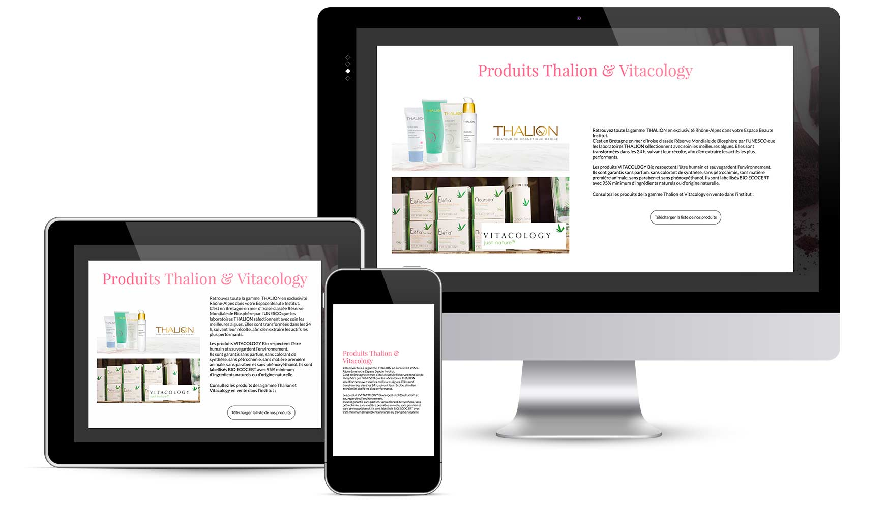 Picture showing the products page on desktop, tablet and mobile