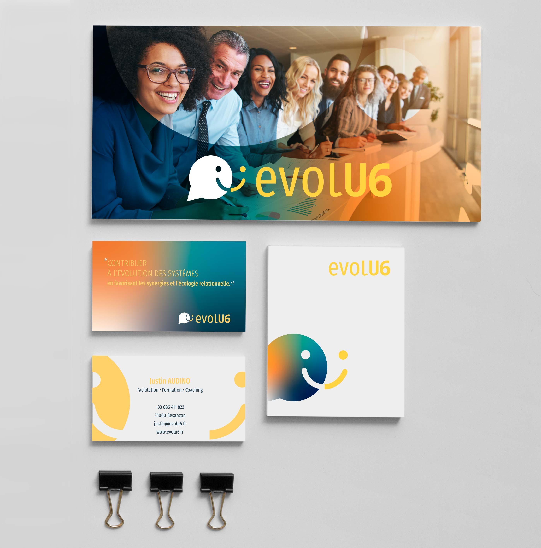 Supports de communication pour EVOLU6 designés par MADMINT : carte de visite, logo...