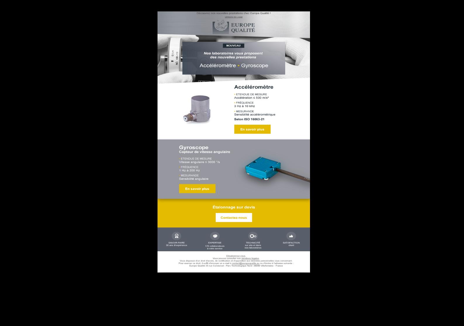 Newsletter Europe Qualité Métrologie 3D designé par MADMINT