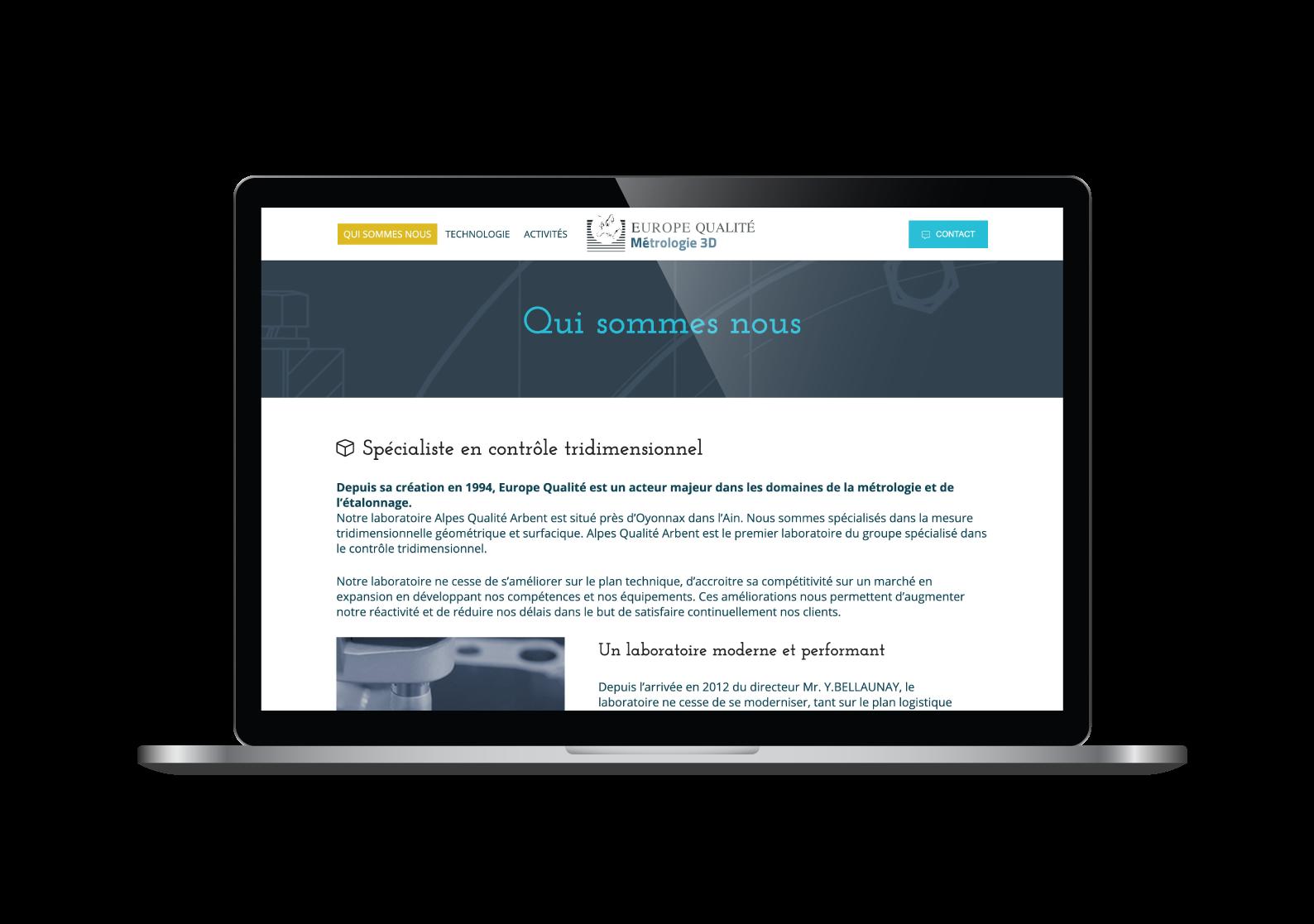 Page Qui sommes nous du site internet Europe Qualité designé par MADMINT