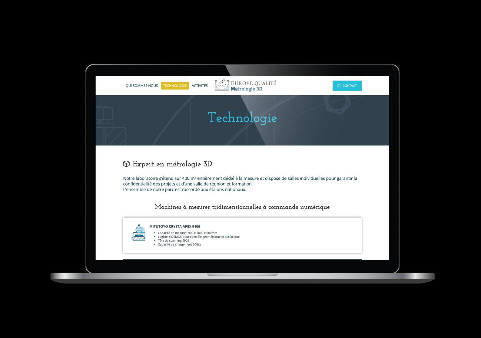 Page technologie du site internet Europe Qualité designé par MADMINT