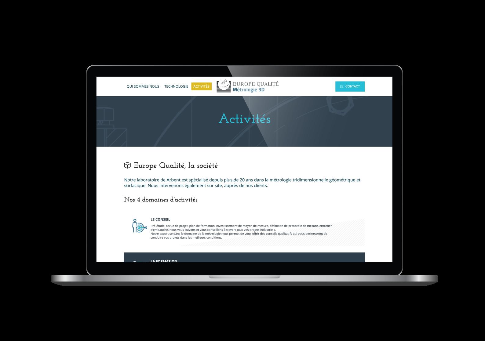 Page activités du site internet Europe Qualité designé par MADMINT