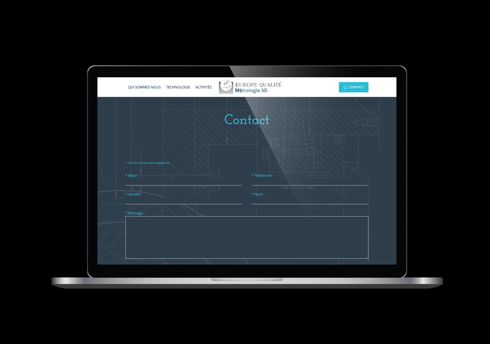 Page contact du site internet Europe Qualité designé par MADMINT