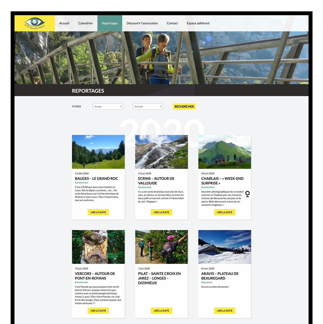 Page reportages du site internet GTA designé par MADMINT