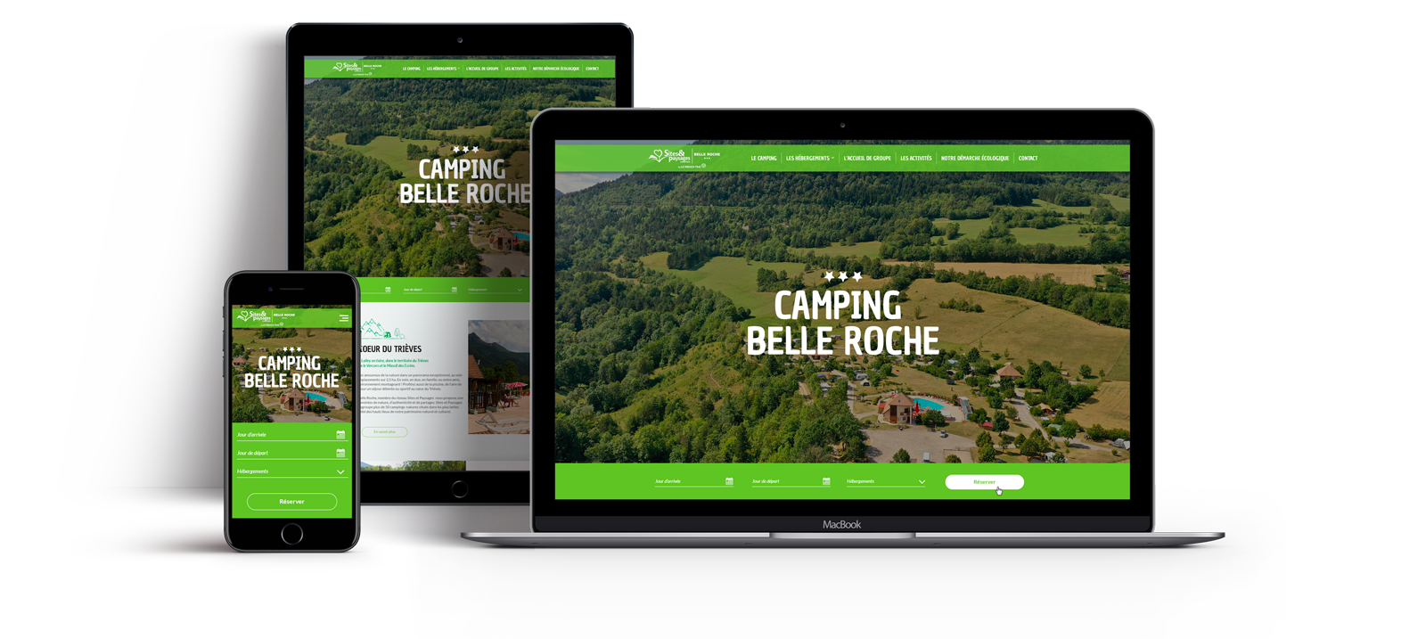 Site Internet du camping Belle Roche