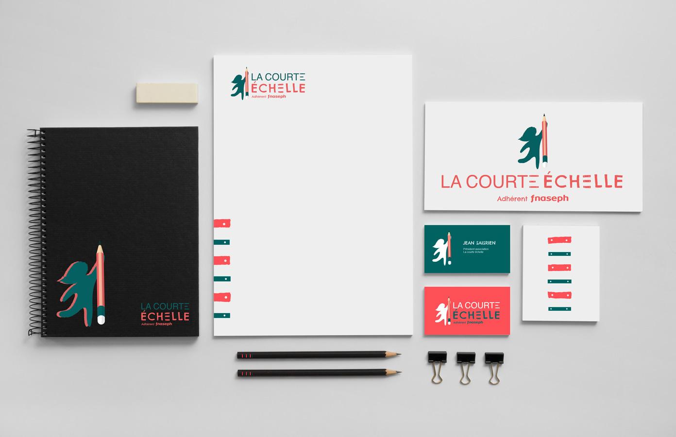 Identité visuelle et supports de communication pour l'association La Courte Échelle réalisés par MADMINT