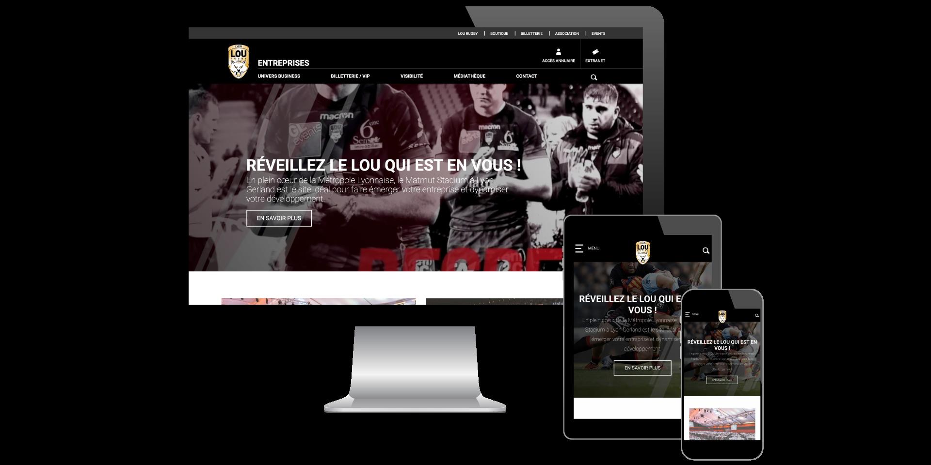 Page d'accueil Lou Business Club designé par MADMINT