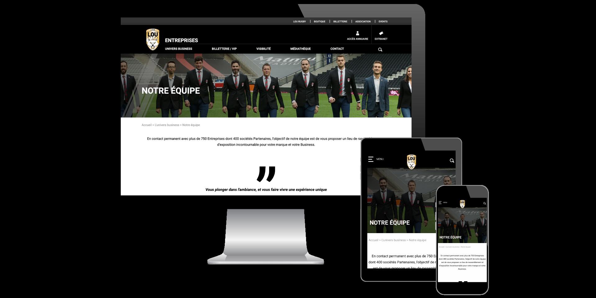 Page Notre équipe Lou Business Club designé par MADMINT