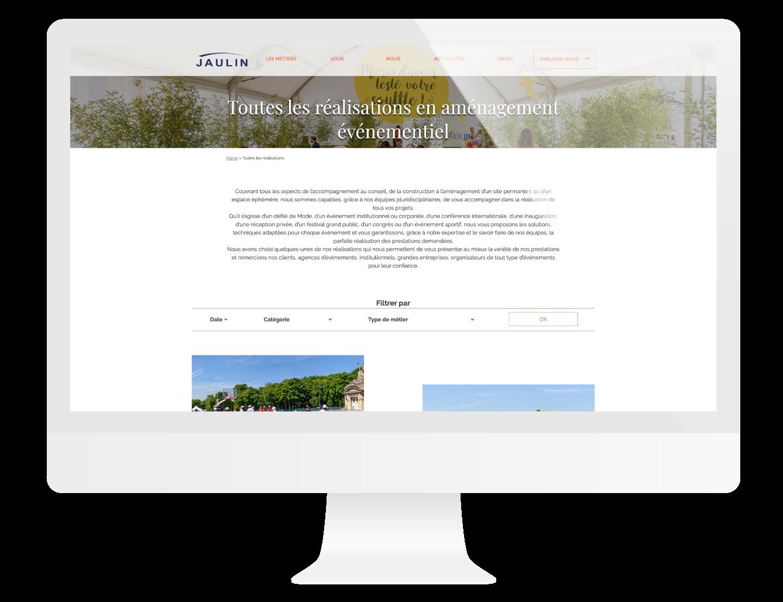 Page réalisations du site internet Jaulin