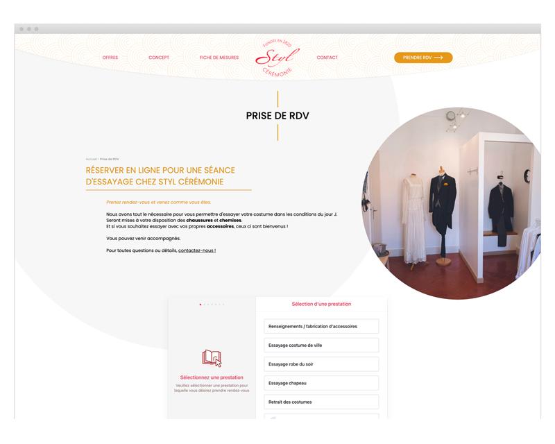 Page prise de rendez-vous du site internet Styl Cérémonie designé par MADMI
