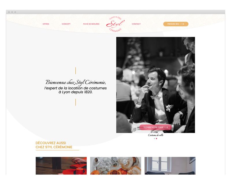 Page d'accueil du site internet Styl Cérémonie designé par MADMINT