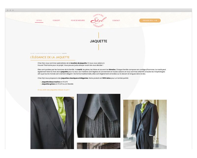 Page Jaquette du site internet Styl Cérémonie designé par MADMI