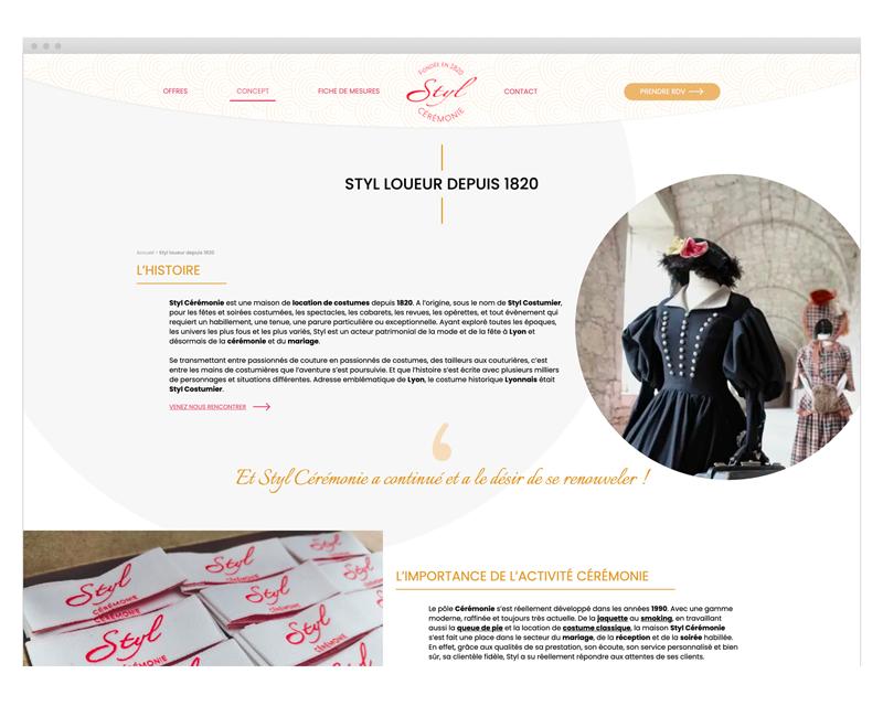 Page Styl Loueur depuis 1820 du site internet Styl Cérémonie designé par MADMI