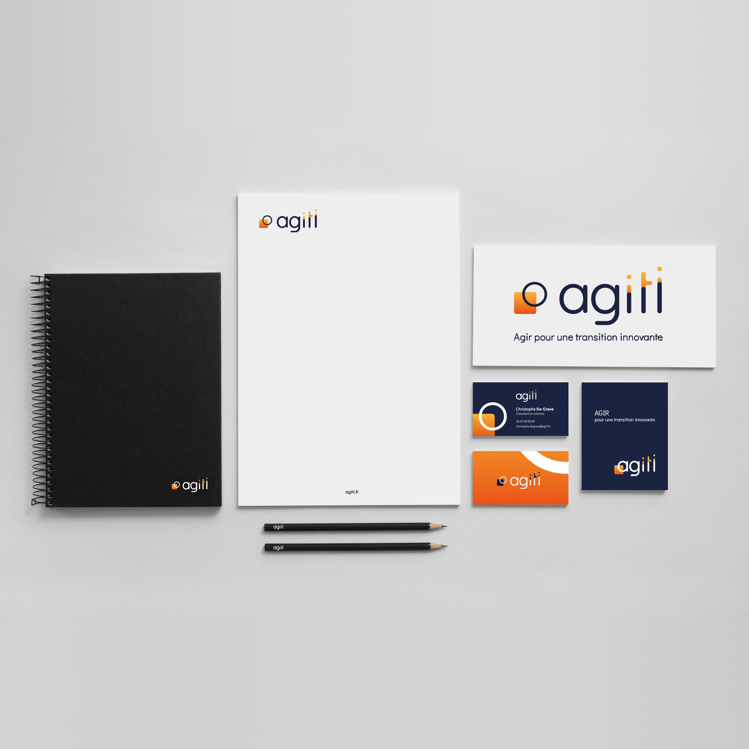 Identité visuelle et supports de communication pour l'entreprise Agiti réalisés par MADMINT